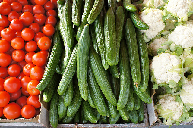 Tomatoes, Cucumbers, and Cauliflower