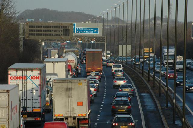Traffic jams on an eight lane highway