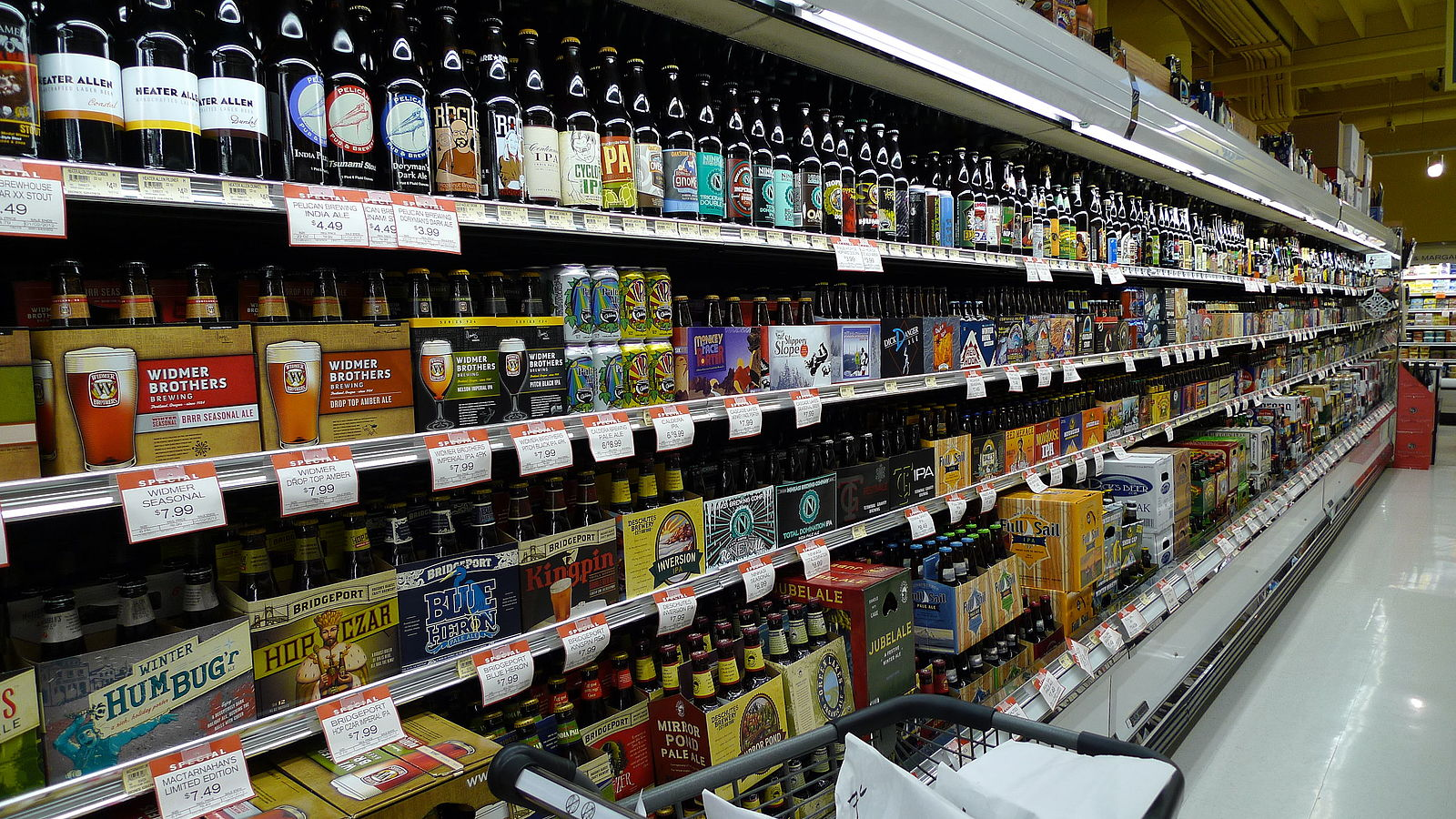 A liquor section at the New Seasons Market Inc. (a privately held company)