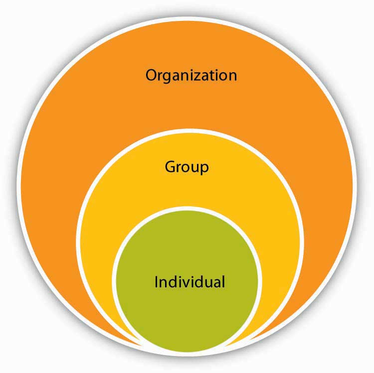 OB spans topics related from the individual to the organization