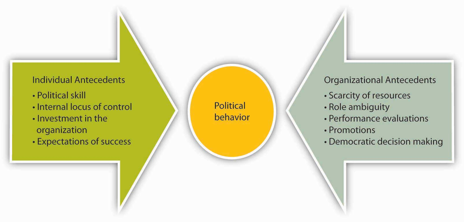 Individual and organizational antecedents can both lead to political behavior