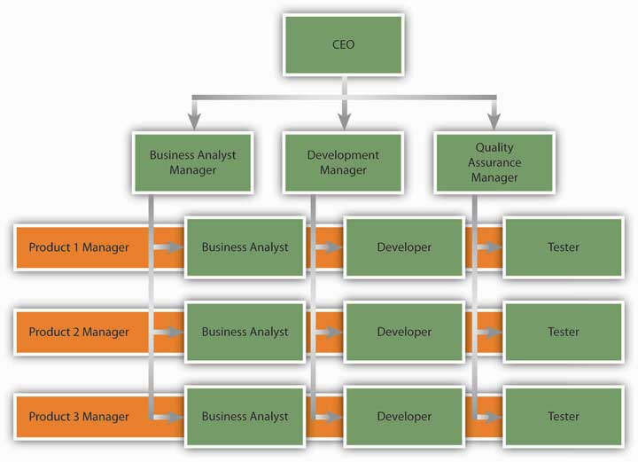 An example of a matrix structure at a software development company. Business analysts, developers, and testers each report to a functional department manager and to a project manager simultaneously.