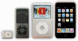An iPod Shuffle, an iPod nano, an original iPod, and an iPod touch