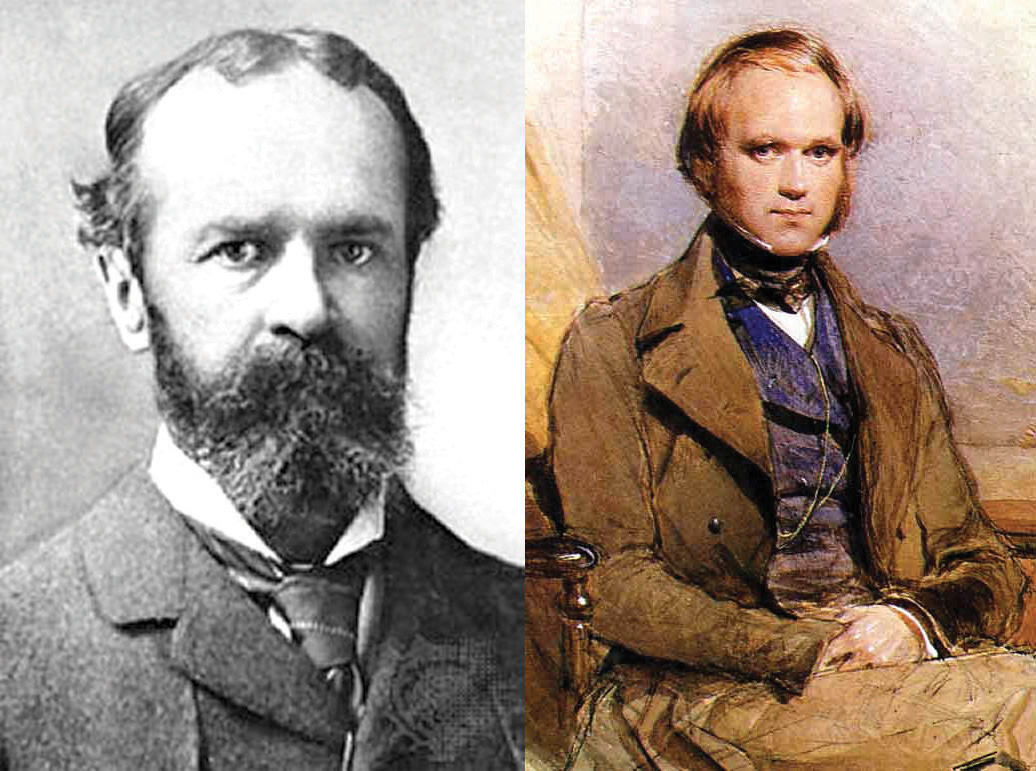 The functionalist school of psychology, founded by the American psychologist William James (left), was influenced by the work of Charles Darwin (right).