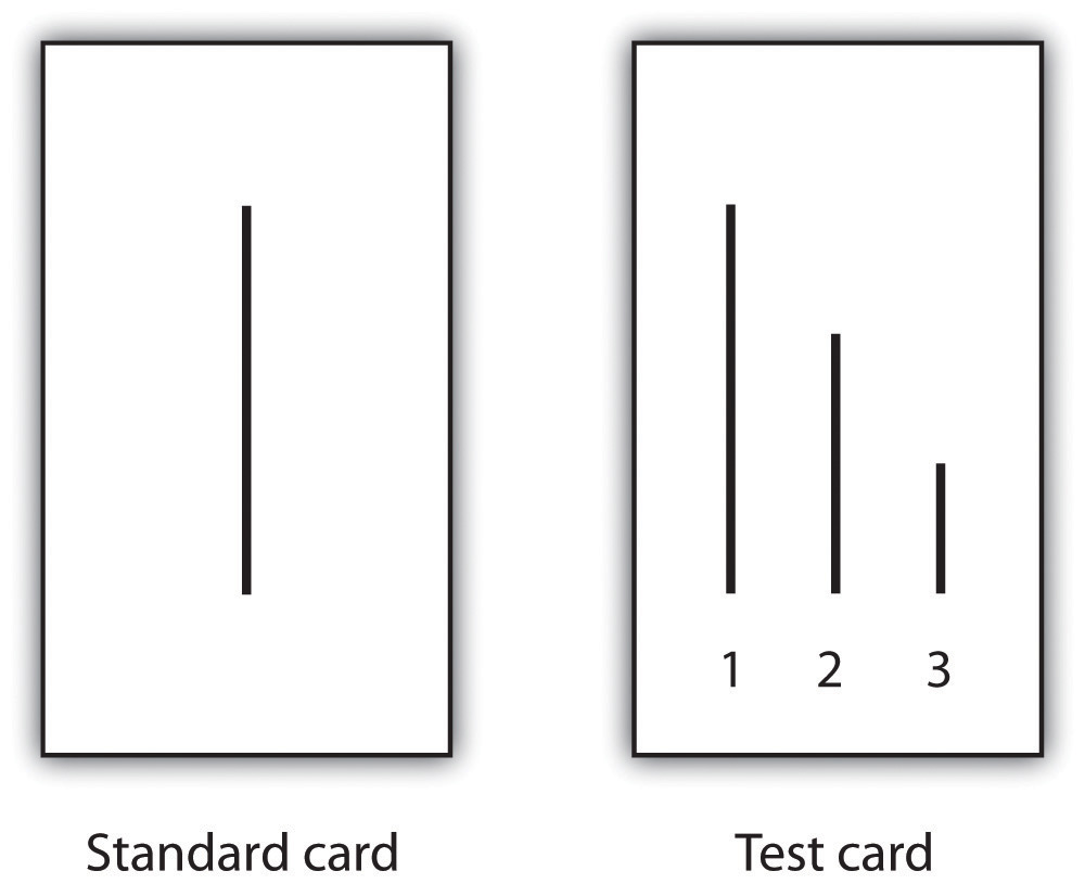 Standard card (line of a certain length), Test card (1-line of same length as standard card, 2-smaller line, 3-smallest line