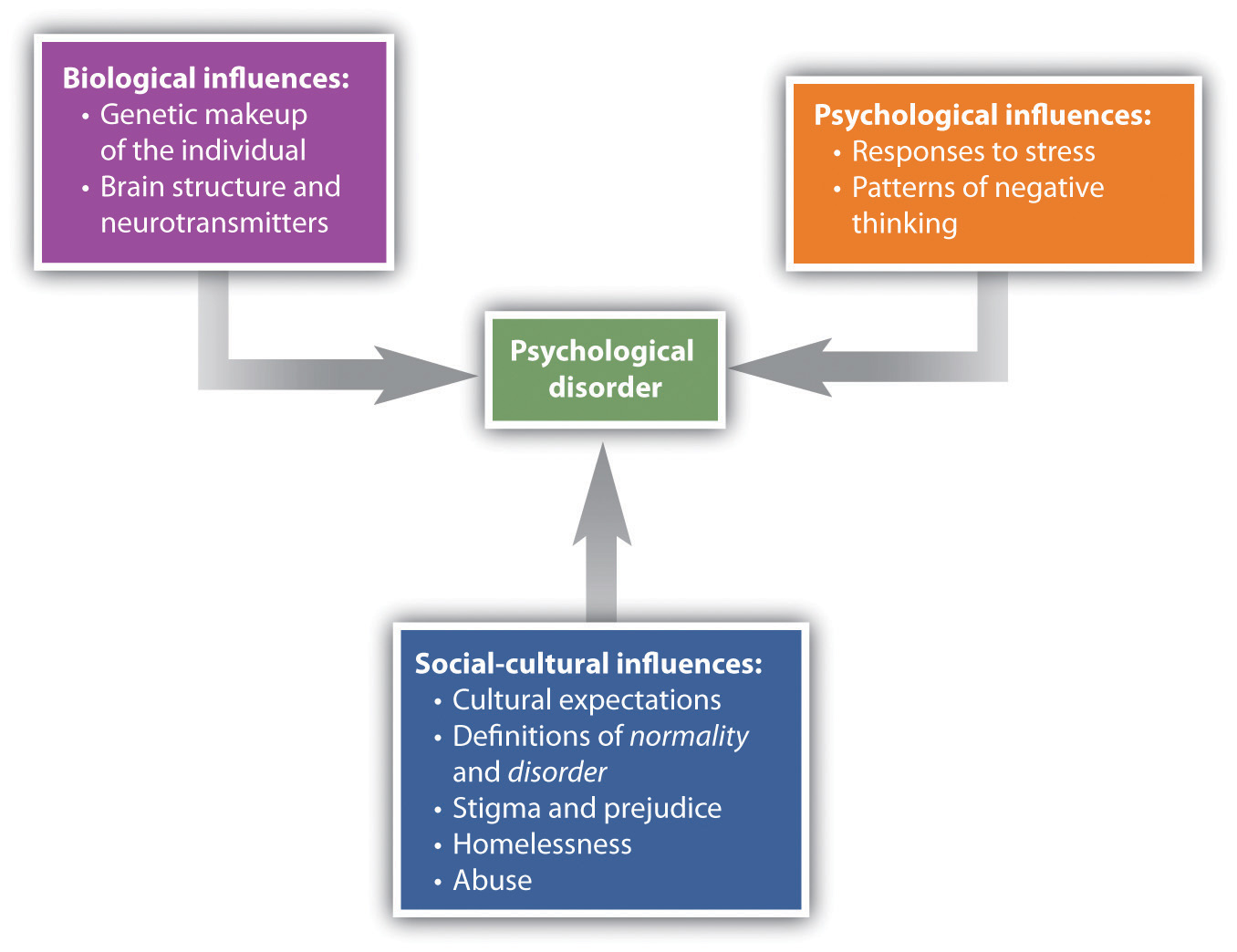 The Bio-Psycho-Social Model (caused by biological, psychological, and social-cultural factors)