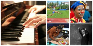Collage (someone playing piano, a track runner leaping to the finish line, a happy clown, a man making a painting, a man writing math equations on a black board