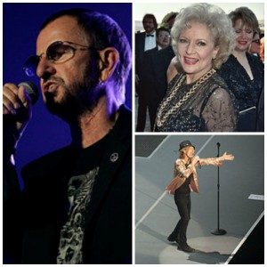 Collage of: Ringo Starr, Betty White, and Mick Jagger
