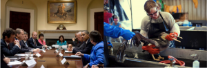 President Barack Obama and Vice President Joe Biden (left photo) meet with BP executives to discuss the disastrous oil spill in the Gulf of Mexico (right photo). Psychologists study the causes of poor judgments such as those made by these executives.