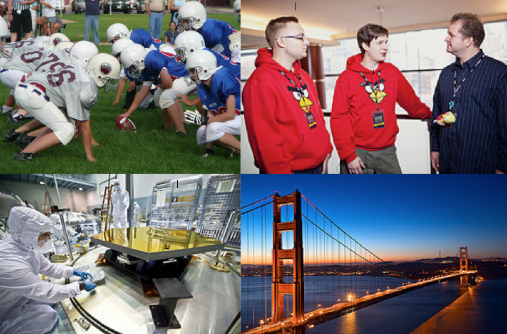 A collage of photos: A football game with players posed on the field, Two gaming engineers with angry bird gear, chemical engineers, and the golden gate bridge