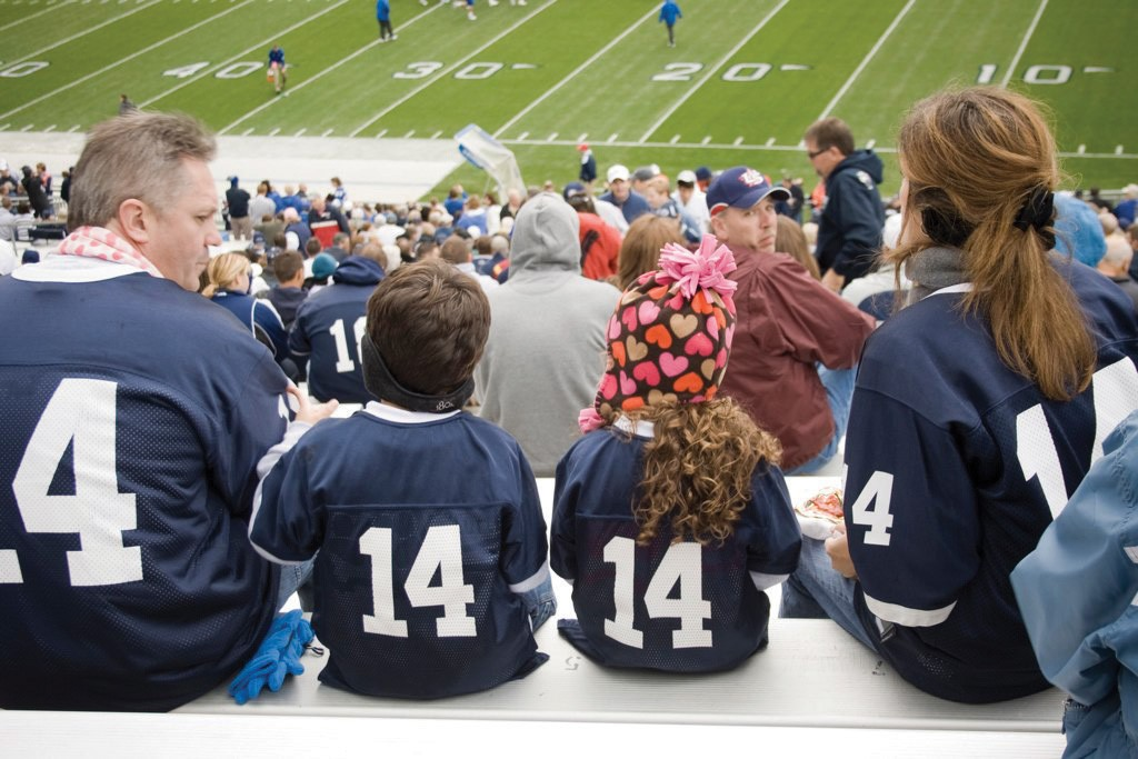 A family watching a football game