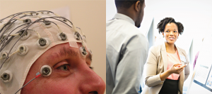 Left: Woman wearing an EEG cap, Right: psychologists talking.
