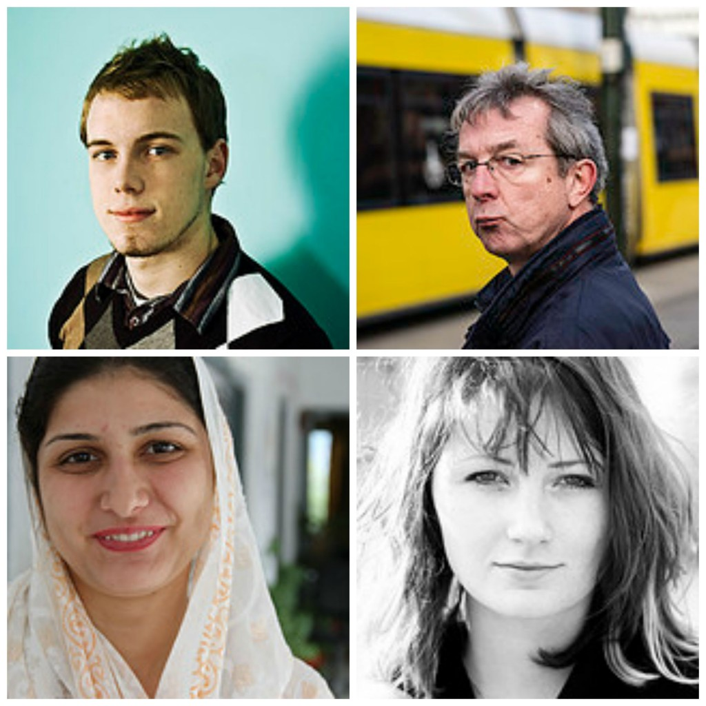 Collage of 4 very different people. A young man, an older  man, a muslim woman, and a young woman