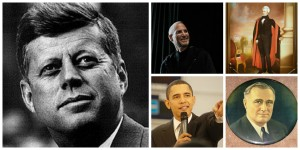 Collage of great leaders: JFK, Steve Jobs, Andrew Jackson, Barack Obama, and FDR