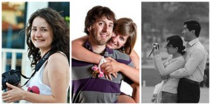 collage (girl smiling with camera, a happy couple hugging, and a happy couple hugging while taking a picture
