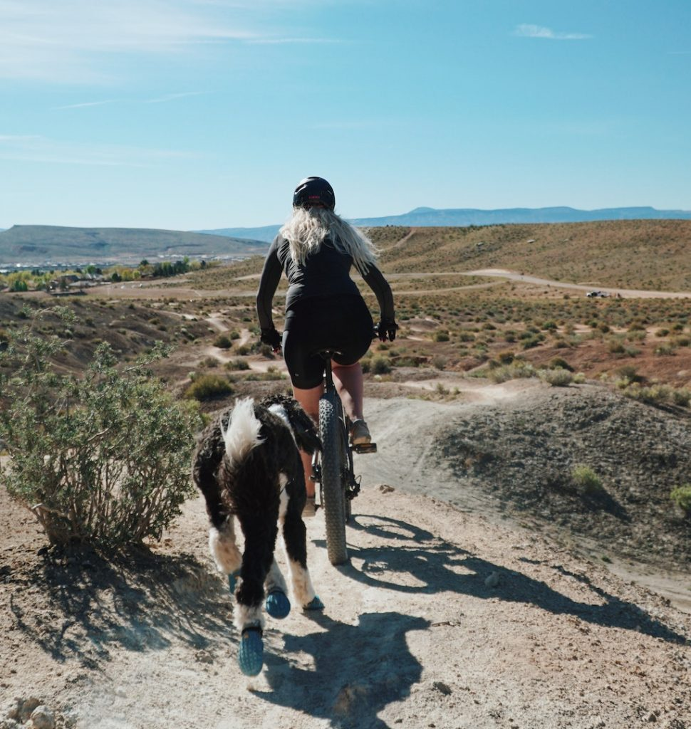 Mountain biker cycling with a dog in an arid region.