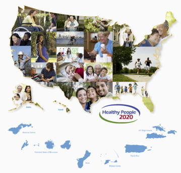 Map of the United States with a collage of photos of individuals.
