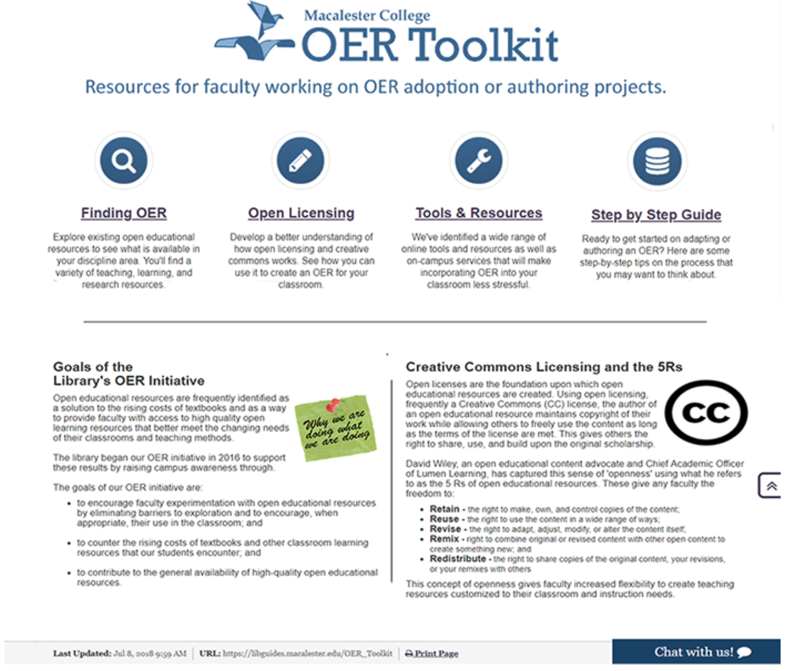 The OER Toolkit website
