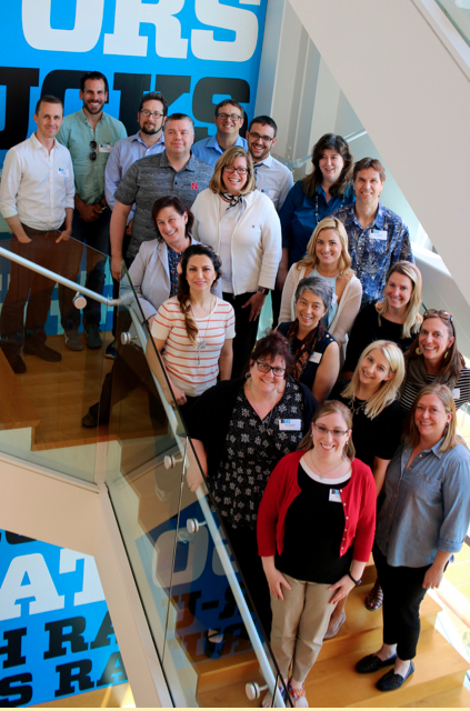 Figure 4: Content Camp pilot participants from the top left. Tony Albano, Andrew Martin, Scott Lewis, Kevin McDade, Heath Tuttle, Jeffrey Barr, Melisa Beers, Alexandra Nica, Barbara Zsembik, Timothy Paustian, Marzi Bolhassani, Lindsey Chamberlain, Laurie Maynell, Alison Bianchi, Diane Kuharsky, Alexis Duffy, Darcy Hartman, Kaitlin Farnan, Ashley Miller