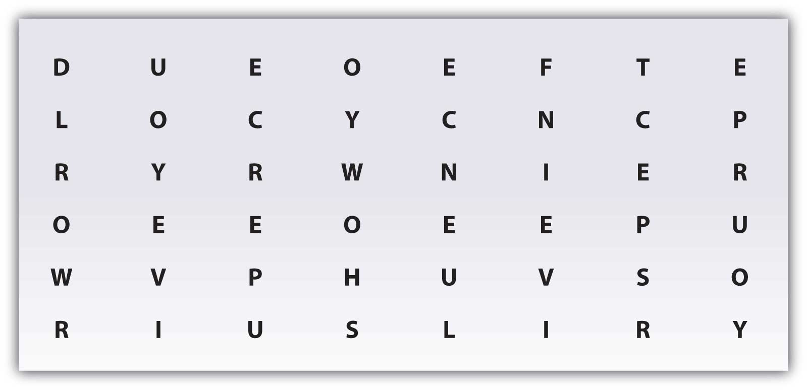 A hidden message in a table of of letters