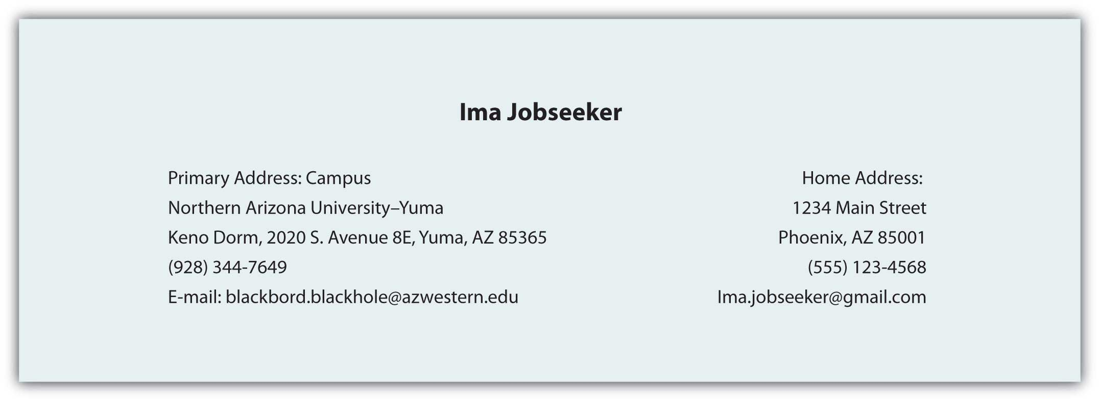 Sample Contact Information