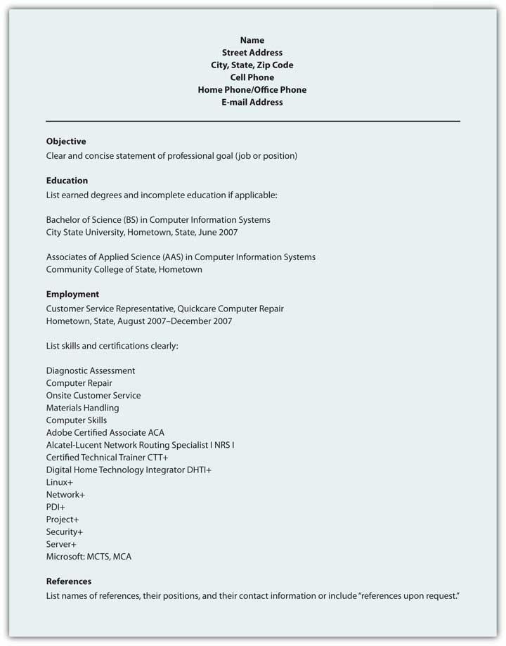 Sample Format for Scannable Résumé