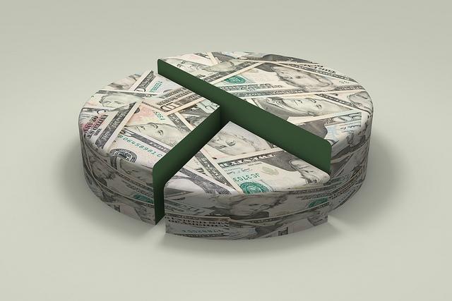 A 3D pie chart made of money