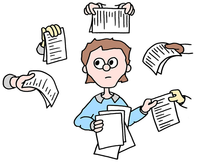 A cartoon of a man being handed a bunch of papers from 5 different people at the same time