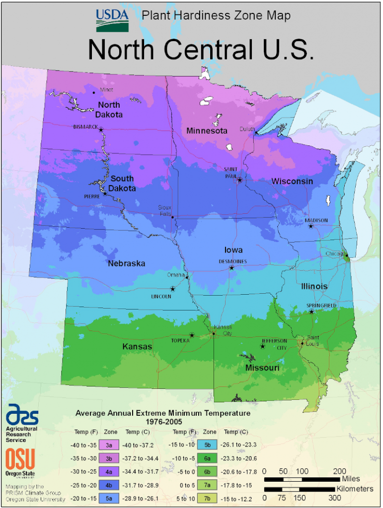 This map is used to determine which plants grow best in which regions. The map is based on the average annual minimum winter temperature, divided into 10-degree F zones. We defined cold climates in this book as zones 3 and 4. The marker points to the edge of zone 4. Below that, the lighter blue color denotes zone 5.
