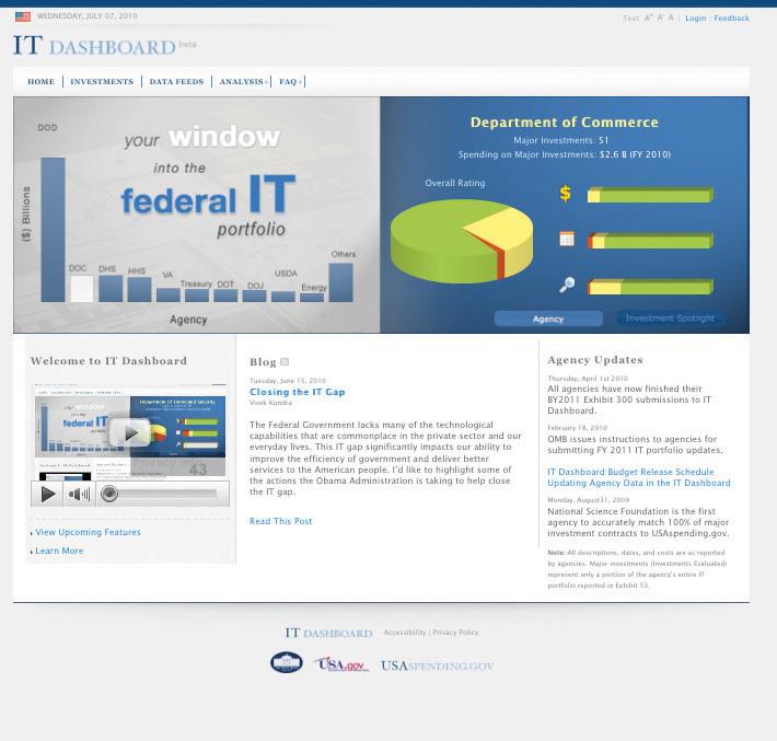 The Federal IT Dashboard website screen shot