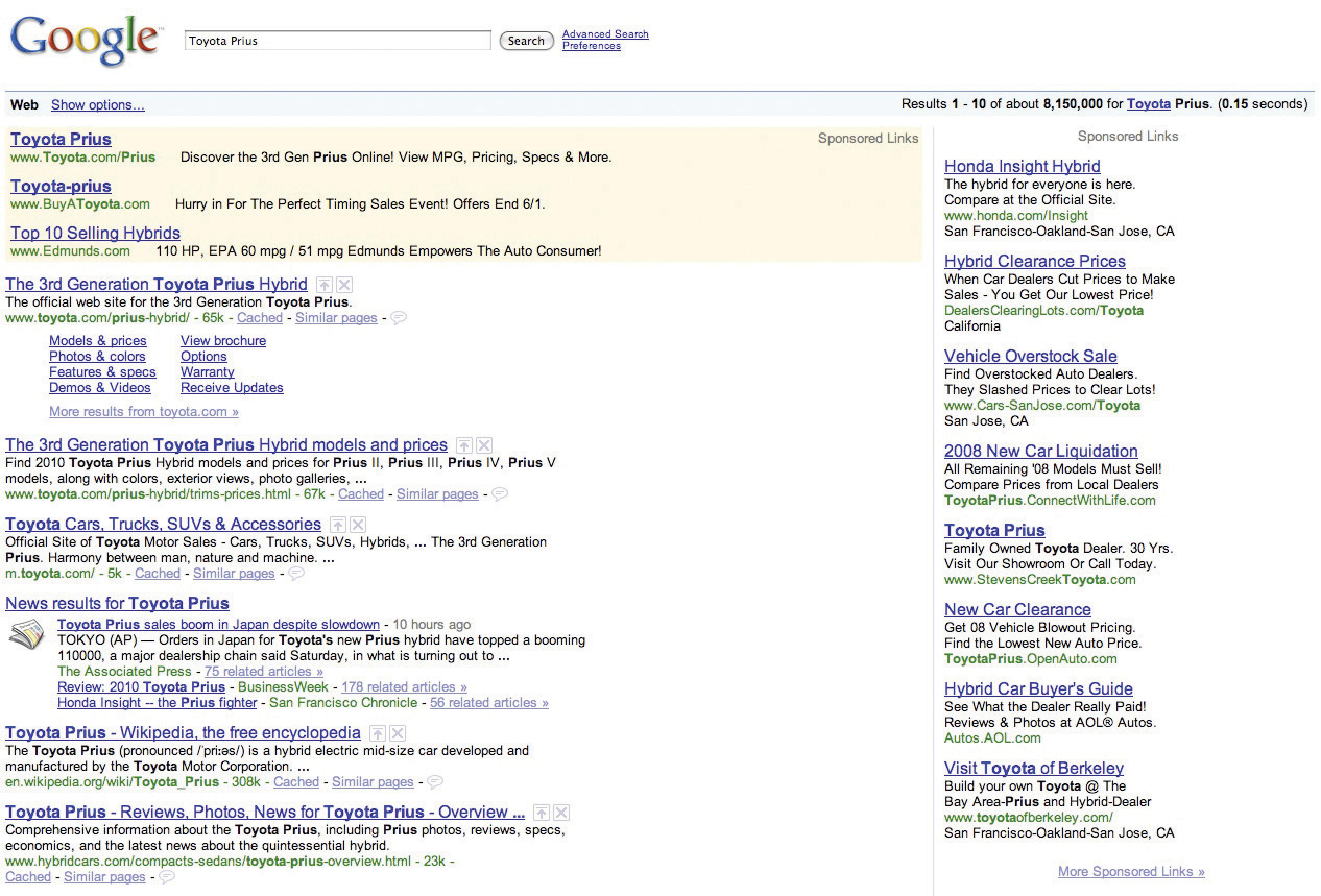 """The query for """"Toyota Prius"""" triggers organic search results, flanked top and right by sponsored link advertisements. Screen shot of said search."""