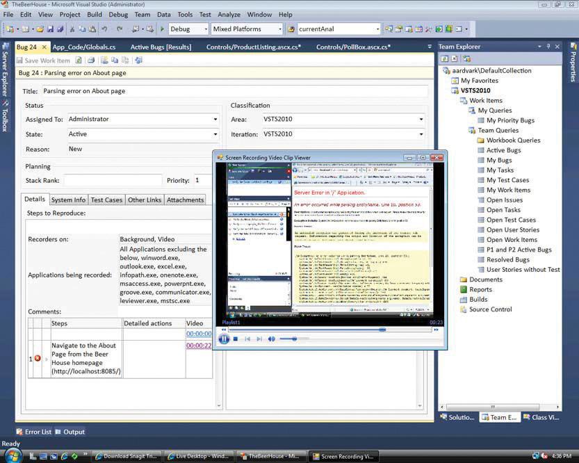 Screen shot of Microsoft's Visual Studio IDE