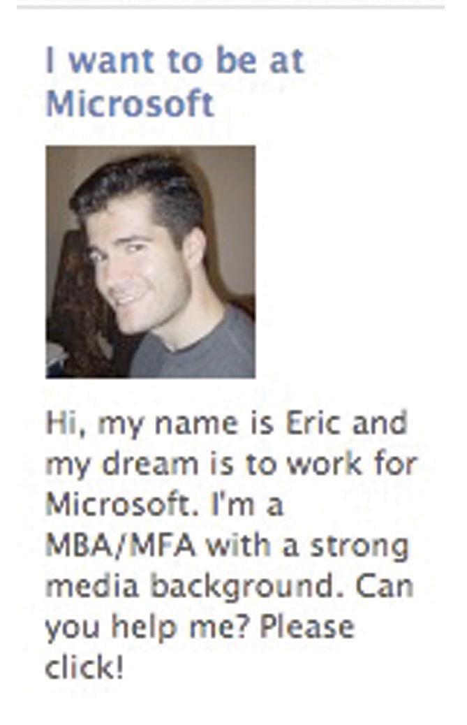 Eric Barker's Facebook advertisement