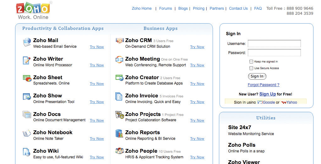 screen shot of Zoho's homepage