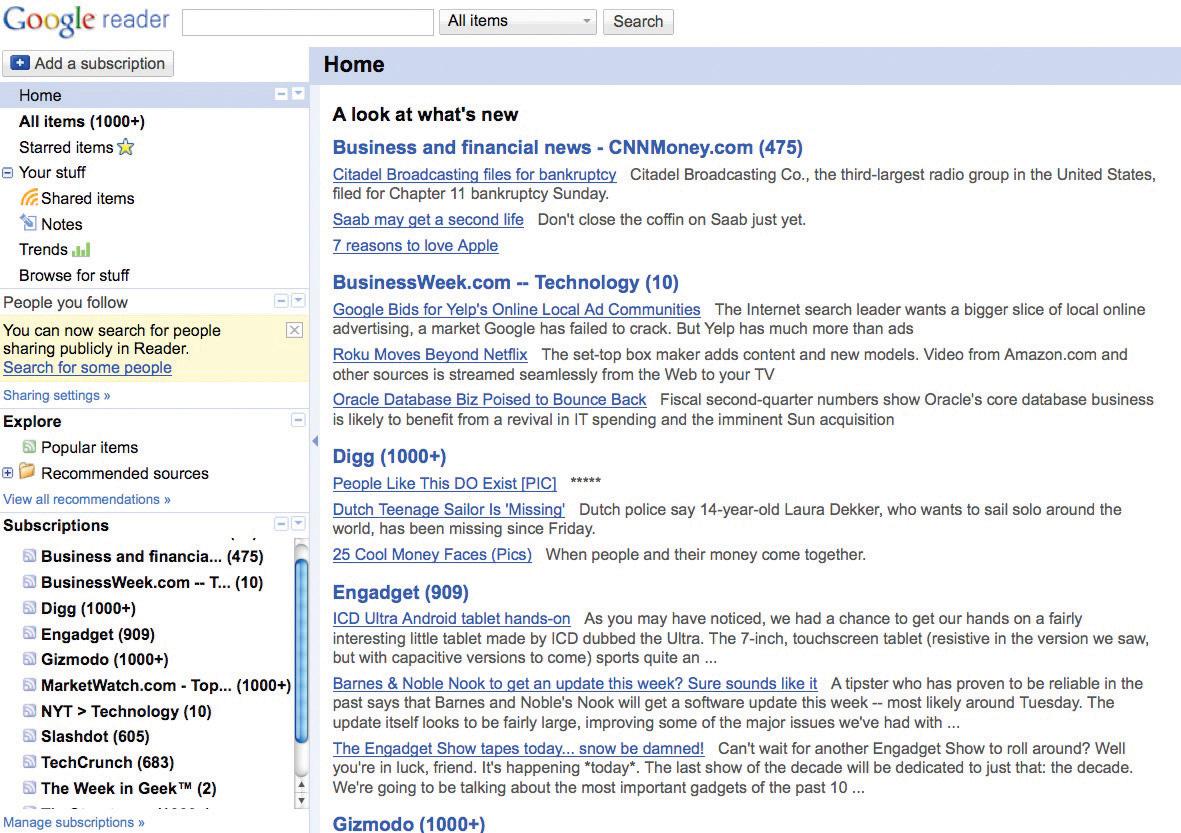 Screen shot of Google Reader