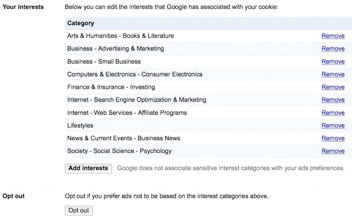"""Here's an example of one user's interests, as tracked by Google's """"Interest-based Ads"""" and displayed in the firm's """"Ad Preferences Manager."""""""