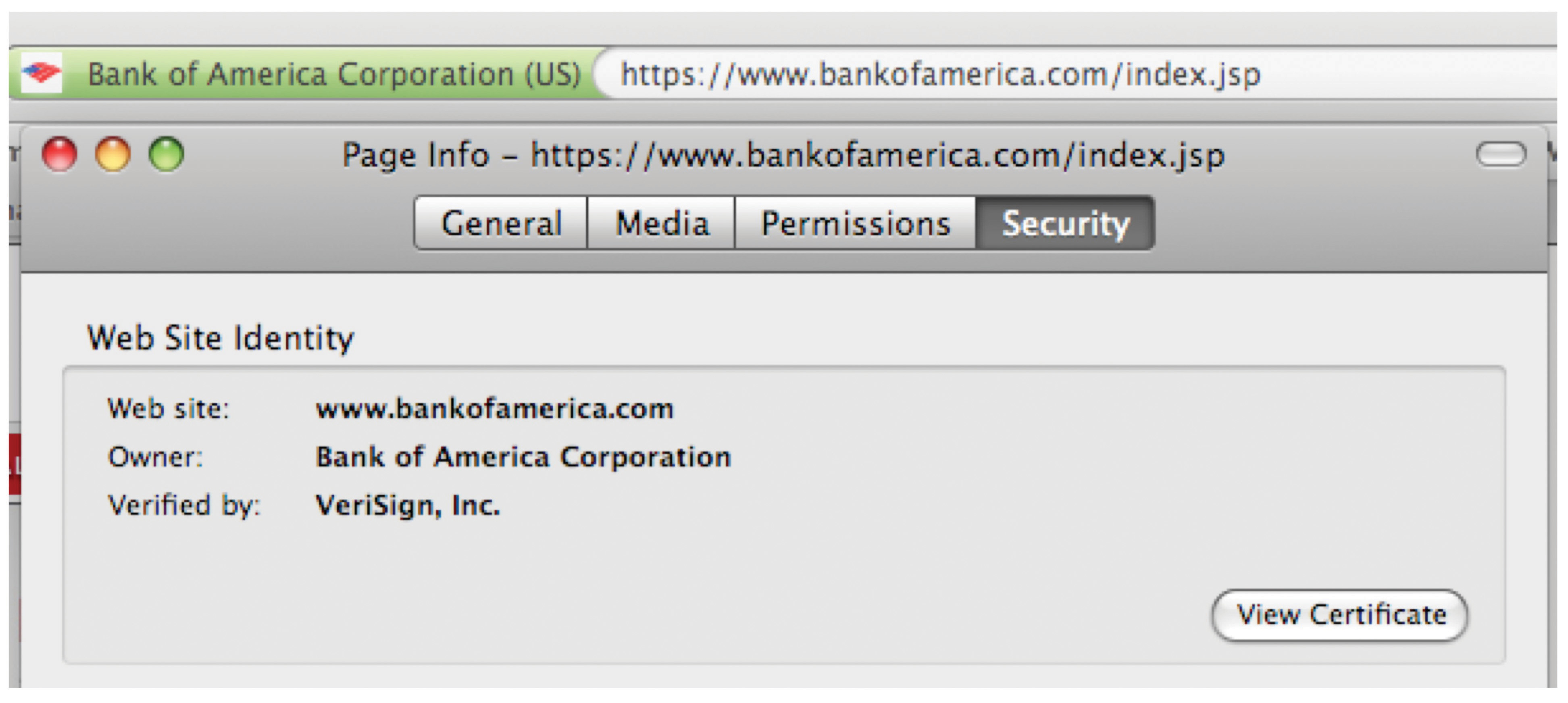 In this screenshot, a Firefox browser is visiting Bank of America. The padlock icon was clicked to bring up digital certificate information. Note how the Web site's name matches the URL. The verifying certificate authority is the firm VeriSign.