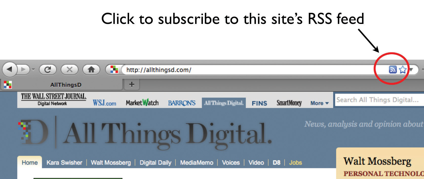 Screen shot showing how to subscripe to a site's RSS feed