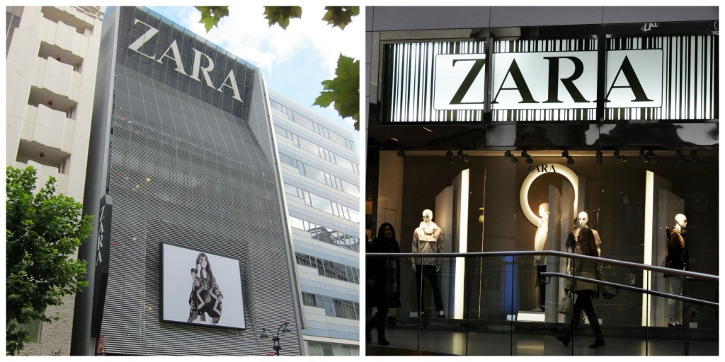 Zara stores in Tokyo and Canada