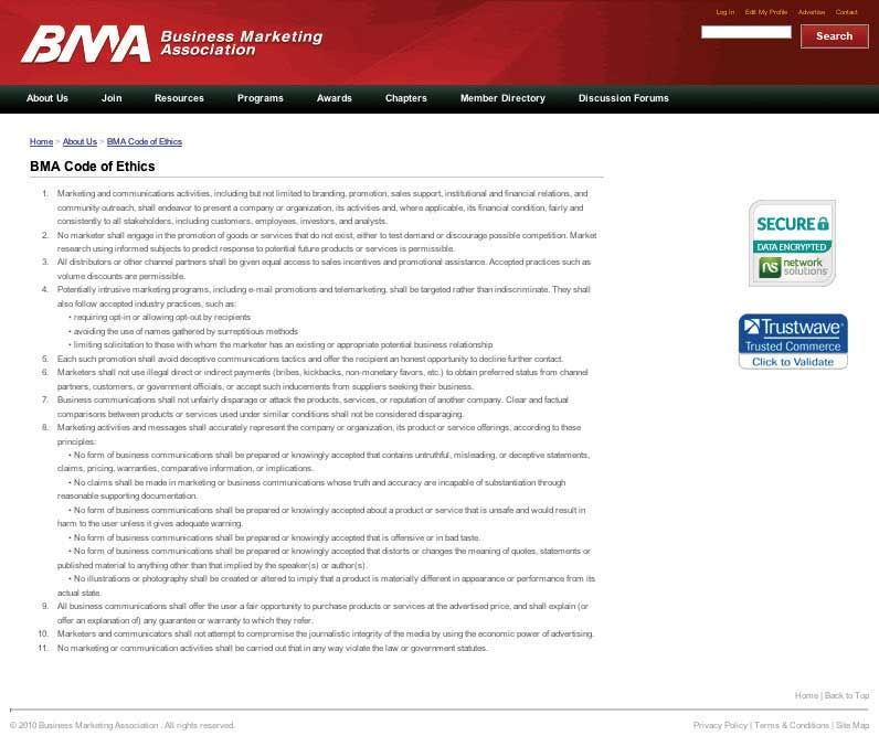 Business Marketing Association (BMA) website screen shot