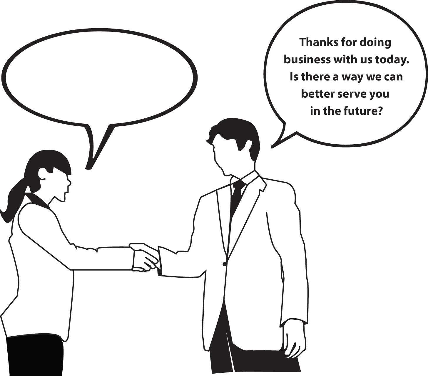A cartoon of a man shaking a woman's hand saying