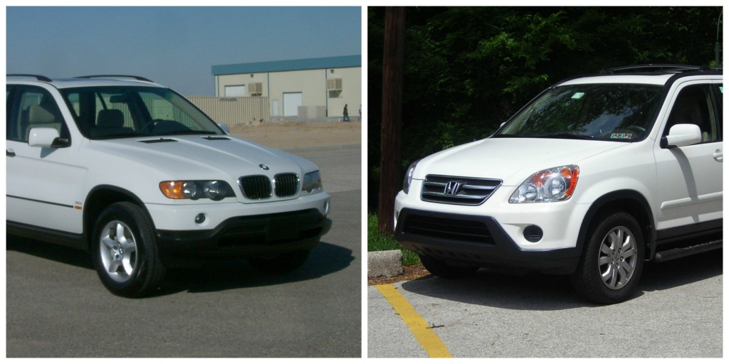 A BMW X5 and a Honda CRV