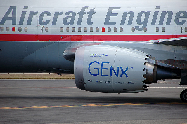 GE's GEnx aircraf engine on a Boeing 747