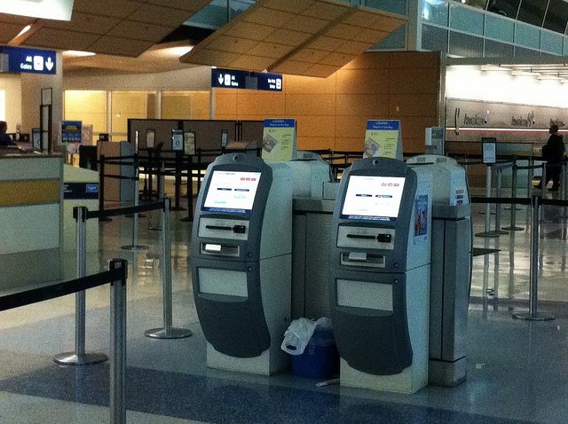 Kiosks, like this one made for American Airlines, contain computers made by other companies such as Dell. Salespeople from Dell worked with the kiosk manufacturer to design in the best computer solution for the job. The kiosk manufacturer's salespeople then worked with American Airlines to provide the hardware and software solutions.