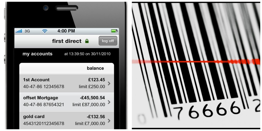 iPhone banking app, and a laser id bar code