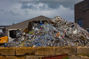 Recycling center pile