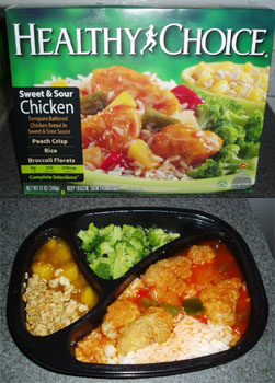 A sweet & sour chicken Healthy Choice meal