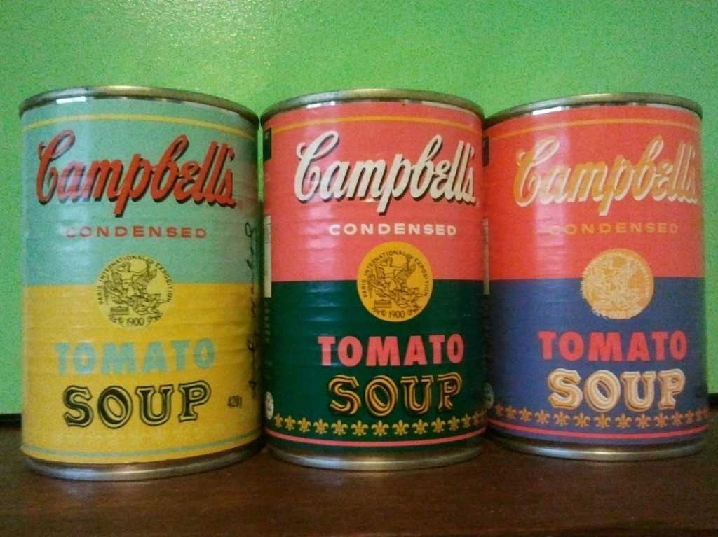 Three retro Campbell's tomato soup cans