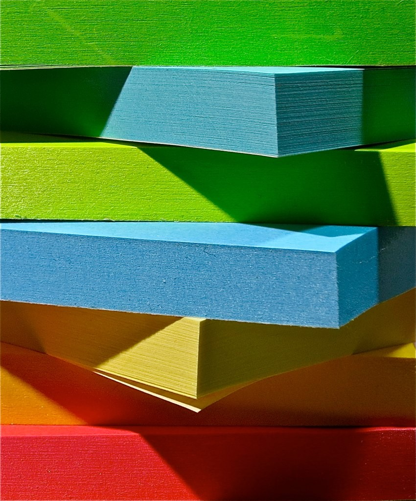 An array of post-it notes in different colors