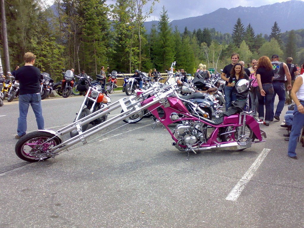 A pink custom motorcycle